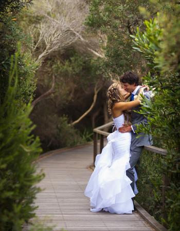Wedding Photography of couple on bush walkway