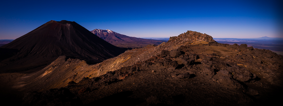 Image all four mountains in one shot Ngauruhoe, Tongariro, Ruapehu, and Taranaki from the Tongariro crossing