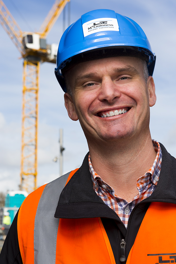 construction staff portraits with hard hat