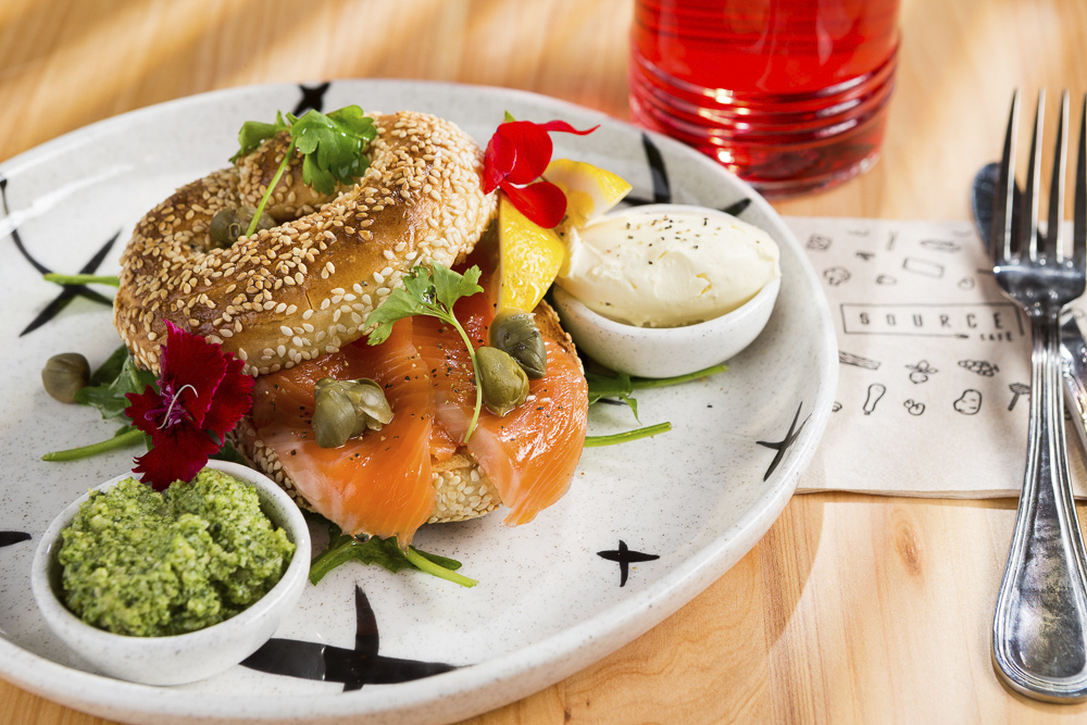 Side on Salmon bagel image taken for cafe food photography shoot in Auckland