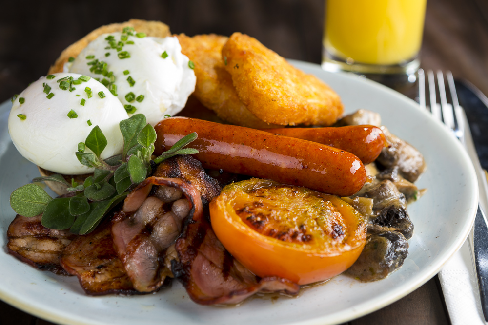 hotel food photography of the classic english breakfast photographed from the side