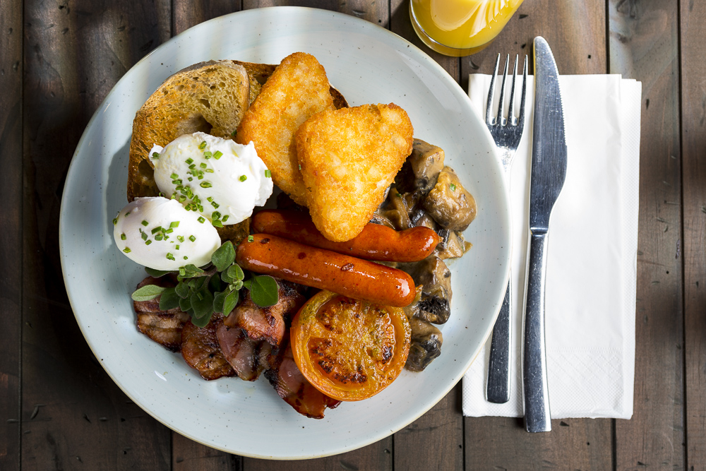 hotel food photography of the classic english breakfast photographed from the top