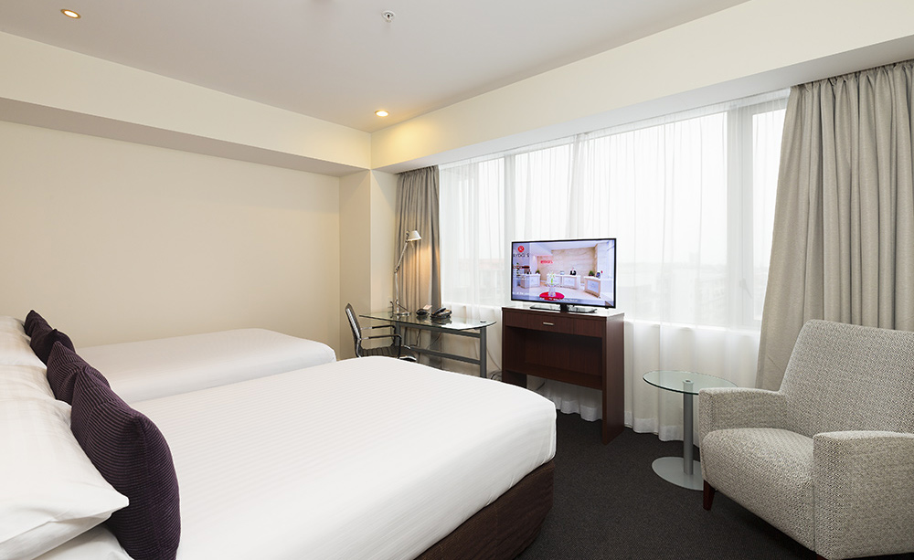 hotel photography of twin double room