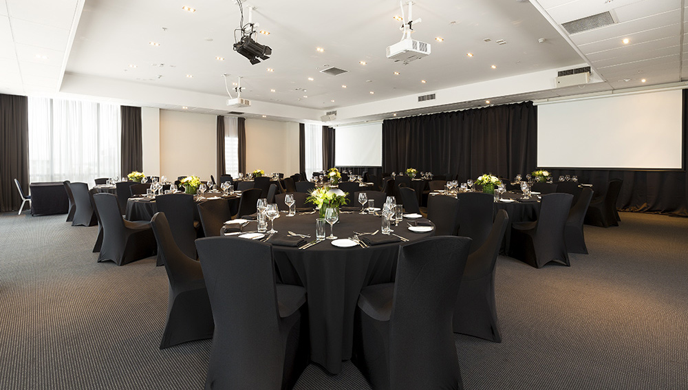 function room setup in Rydges wedding layout
