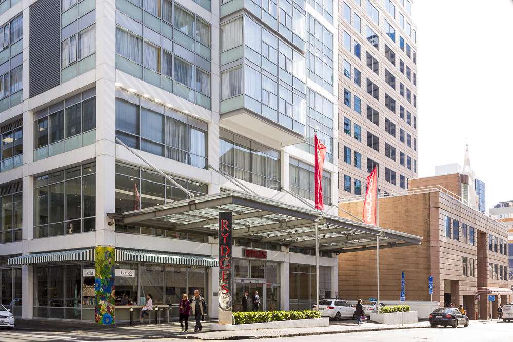 Hotel exterior photography for Rydges Hotel Auckland New Zealand