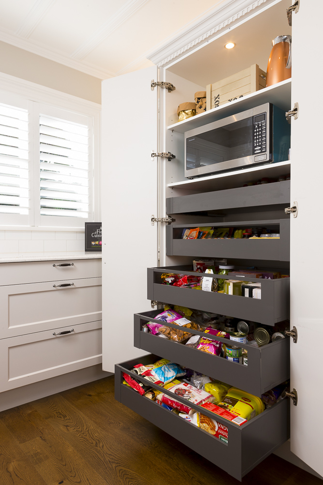 kitchen photography of storage cupboard drawers by Auckland New Zealand interiors photographer