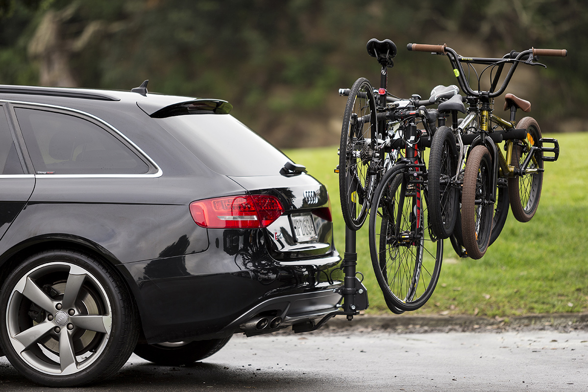 outdoor product photography of bike racks at Milford Reserve, Auckland